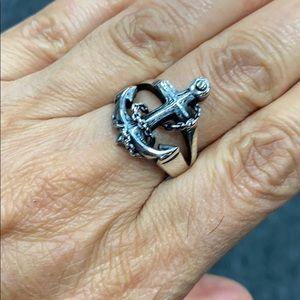 Sterling silver Cross Anchor men's Ring
